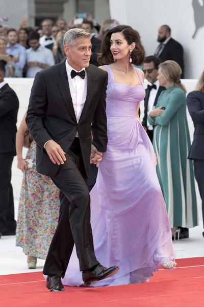 Robe de soirée lavande longue Clooney