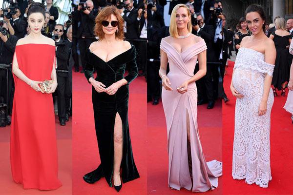 Robes de célébrité longues épaule dénudée
