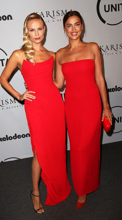 Irina Shayk & Natasha poly toutes en la robe rouge pour la Fashion Week de New York