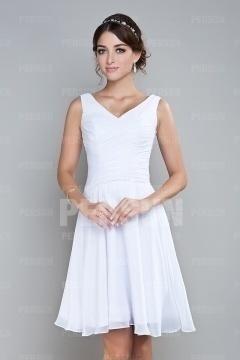 Chic robe de soirée blanche courte col en V agrémentée de sequins sur la taille