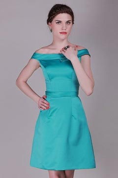 Chic robe verte turquoise à encolure bardot soirée