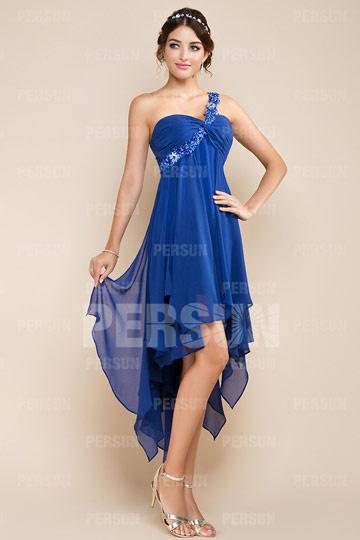 Robe bleu asymétrique & dos découpé courte devant longue derrière en tencel