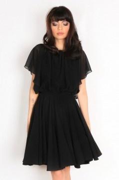 Robe noire de soirée avec mancherons dos échancré en U mousseline