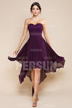 Robe violette courte devant longue derrière pour demoiselle d'honneur bustier cœur