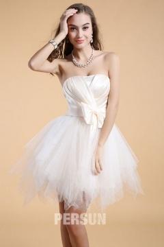 Sexy robe de soirée courte orné d'un nœud de papillon effet féerique
