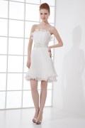 Simple tenue de soirée blanche pour mariage plissé